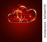 golden hearts valentine red... | Shutterstock . vector #565364755