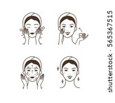 steps how to apply facial... | Shutterstock . vector #565367515