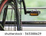 detail bicycle standing in a... | Shutterstock . vector #565388629