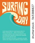 surfing day background with big ... | Shutterstock .eps vector #565388827