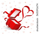 open gift with red heart... | Shutterstock .eps vector #565391674