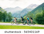 family of four cycling | Shutterstock . vector #565401169