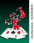 poker aces and chips   Shutterstock .eps vector #565403845