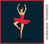 beautiful ballerina in a red... | Shutterstock .eps vector #565406215
