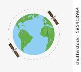 satellites flying above earth...   Shutterstock .eps vector #565413964