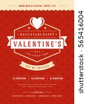 happy valentines day party... | Shutterstock .eps vector #565416004