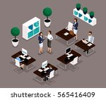 trend isometric people working... | Shutterstock .eps vector #565416409
