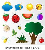 nature set   insect  tree ... | Shutterstock .eps vector #56541778