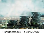 double exposure of city and... | Shutterstock . vector #565420939