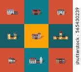 set of 9 flat vector castles.... | Shutterstock .eps vector #565430239