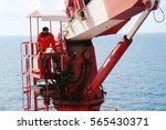 crane operator work on oil and... | Shutterstock . vector #565430371
