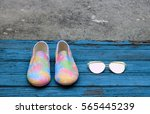 pair of female summer shoes and ... | Shutterstock . vector #565445239