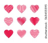 set of abstract stylized heart  ... | Shutterstock .eps vector #565455595