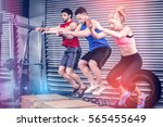 fit people doing exercises with ... | Shutterstock . vector #565455649