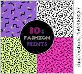 cute set of four 80's style... | Shutterstock .eps vector #565480537