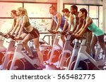 fit people working out at... | Shutterstock . vector #565482775
