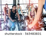 fit people working out at... | Shutterstock . vector #565483831
