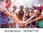 fit people putting their hands... | Shutterstock . vector #565487755