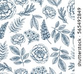 floral seamless pattern. linear ... | Shutterstock .eps vector #565492849