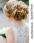 elegant blond bride standing... | Shutterstock . vector #565497949