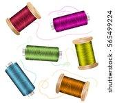 thread spool set background.... | Shutterstock .eps vector #565499224