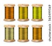 thread spool set. bright old... | Shutterstock .eps vector #565499569