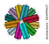thread spool banner circle...   Shutterstock .eps vector #565499617