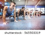 fit people working out in... | Shutterstock . vector #565503319