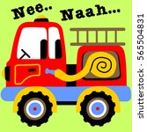a red fire truck vector cartoon ... | Shutterstock .eps vector #565504831