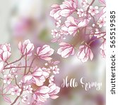 background with sakura and... | Shutterstock .eps vector #565519585