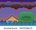 house and tree on flood vector... | Shutterstock .eps vector #565528615