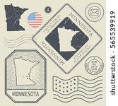 retro vintage postage stamps... | Shutterstock .eps vector #565539919