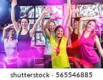 fit group dancing and smiling... | Shutterstock . vector #565546885