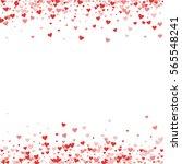 red hearts confetti. borders on ... | Shutterstock .eps vector #565548241