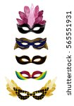 gold carnival mask collection... | Shutterstock .eps vector #565551931