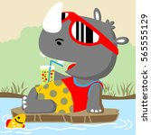 rhino relaxing in the swamp... | Shutterstock .eps vector #565555129