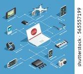 gadgets flowchart concept with... | Shutterstock .eps vector #565557199