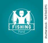 fishing badge white vector logo | Shutterstock .eps vector #565560391