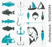 Fishing Vector Shapes Set