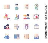 education icons set 2   flat... | Shutterstock .eps vector #565560937