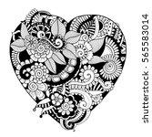 zentangle heart consisting of... | Shutterstock .eps vector #565583014