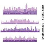 vector cityscape silhouette ... | Shutterstock .eps vector #565585885