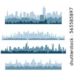 Morning cityscape silhouette vector set flat illustration