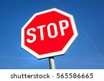 stop traffic sign. red octagon... | Shutterstock . vector #565586665