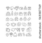 collection of wedding icons | Shutterstock .eps vector #565587769