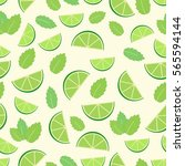 mojito cocktail   seamless... | Shutterstock .eps vector #565594144