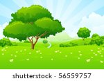 tree landscape with blue sky... | Shutterstock .eps vector #56559757