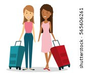 travelers group with suitcases... | Shutterstock .eps vector #565606261