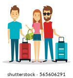 travelers group with suitcases... | Shutterstock .eps vector #565606291
