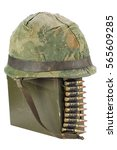 Small photo of .30 Cal Metal Ammo Can with ammunition belt and helmet